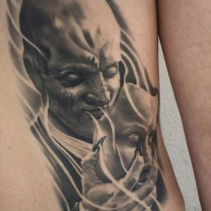 A demon in human skin by Jhon Gutti (IG—jhongutti). #blackandgrey #demon #horror #JhonGutti #realism