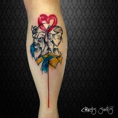 Trabalho do Chris Santos! #ChrisSantos #tatuadoresbrasileiros #ABelaEAFera #TheBeautyandthebeast #beautyandthebeast #desenho #cartoon #disney #nostalgic #nostalgia #childhood #infância #aquarela #watercolor