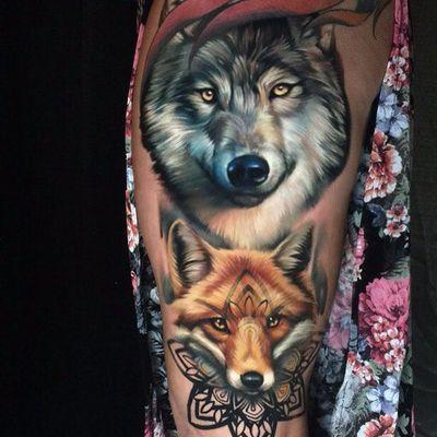 Animal spirits by Sergey Shanko #SergeyShanko #realism #realistic #blackwork #tribal #pattern #fox #wolf #fur #color #nature #animals #forest #tattoooftheday