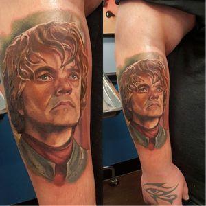 Tyrion Lannister Tattoo by unknown artist #Tyrion #Lannister #TyrionLannister #TyrionTattoo #TyrionLannisterTattoo #PeterDinklage #Portrait #GameofThrones