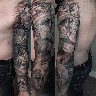 British Columbia Sleeve by Greg Nicholson (via IG-evilkolors) #blackandgrey #fineline #realism #gregnicholson