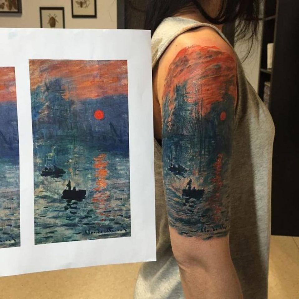 Magnífica reprodução de Impressão, Nascer do Sol de Claude Monet por Luca Fedato #LucaFedato #obrasdearte #art #impresoesdosolnascente #claudemonet #monet #impressionismo