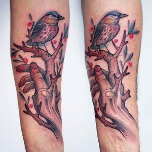Nature tattoo. #KatiBerinkey #nature #hand #bird #sketchtattoo #sketchstyletattoo