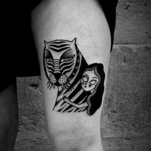 Tiger tattoo by Ophélie Taki #OphélieTaki #illustrative #blackwork #childhood #tiger