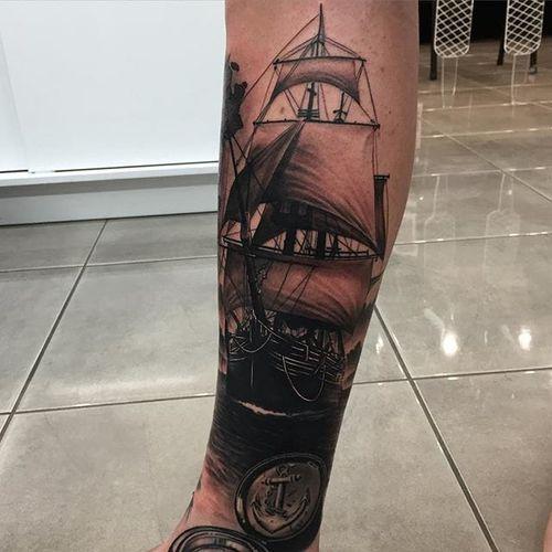 Ghost ship via instagram da_ink #clippership #ship #sails #blackandgray #portrait #realism #daink #drewapicture