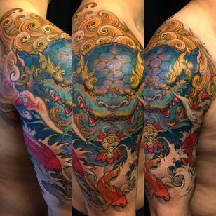 Foo Dog Tattoo by Tristen Zhang #foodog #japanese #neotraditional #neotraditionaljapanese #japaneseart #TristenZhang