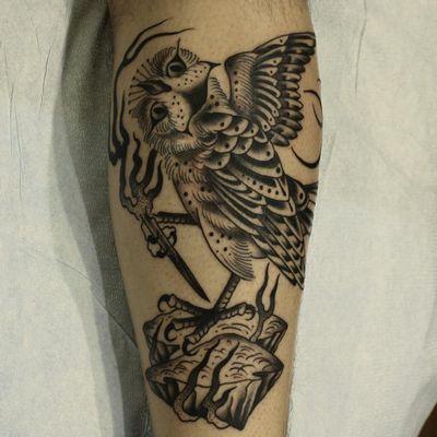 Tattoo by Franco Maldonado #FrancoMaldonado #blackandgrey #illustrative #newtraditional #darkart #surreal #owl #fire #pen #rock #feathers #wings #bird #dotwork #linework #moon