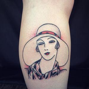 1920's lady tattoo by Tron #Tron #losingShape #smalltattoos #traditional #1920s #artdeco #pattern #hat #ladyhead #portrait #scarf #lady #redink #tattoooftheday