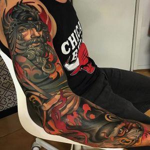 Warrior sleeve, by Joe Frost. (via IG—hellomynamesjoe) #neotraditional #sleeve #joefrost #colorbomb