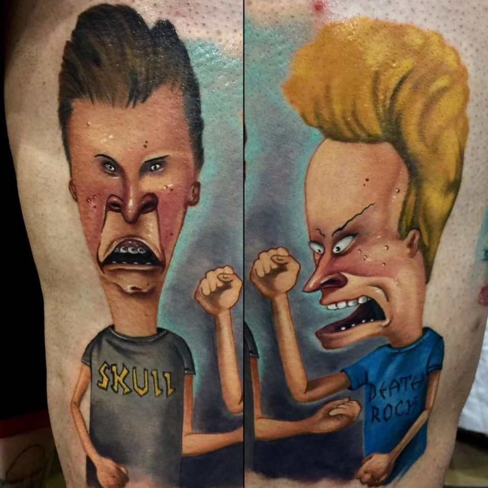 Duh duh duh, duh duh du-duuuuuuuuh! Beavis and Butthead by Audie Fulfer Jr. (Via IG - audie_tattoos) #AudieFulfer #realism #beavisandbutthead