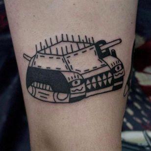 War Tank Tattoo by Jack Watts @Tattoosforyourenemies #Tattoosforyourenemies #sangbleu #london #black #blackwork #traditional #wartank