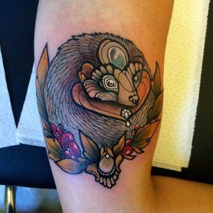 Hedgehog tattoo by Miss Juliet. #hedgehog #animal #jewel #missjuliet