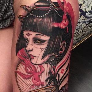 Ghost in the Shell geisha tattoo by Alan Ferioli #AlanFerioli #ladytattoos #color #portrait #newtraditional #neotraditional #japanese #mashup #lady #geisha #fish #goldfish #robot #biomechanical #fan