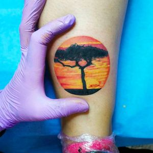 Tree silhouette and sunset tattoo by Andrea Morales. #AndreaMorales #EduTattoo #Madrid #tree #sunset