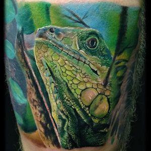 Iguana Tattoo by Dan Lockett #iguana #iguanatattoo #lizardtattoo #lizardtattoos #reptiletattoo #reptiletattoos #reptile #lizard #realistic #realisticiguana #DanLockett