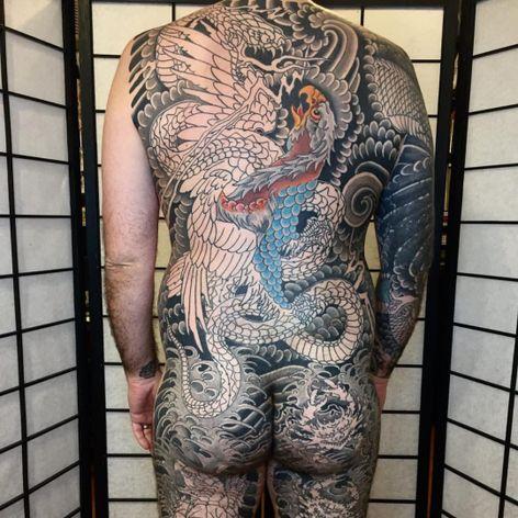 One of John Reardon's amazing large scale Japanese pieces in progress (IG—johnreardontattoos). #eagle #GreenpointTattooCo #Japanese #JohnReardon #NYCtattooshops #snake