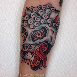 Wolf In Sheep's Clothing Tattoo by Tony Talbert #wolfinsheepsclothing #wolf #sheep #traditional #TonyTalbert
