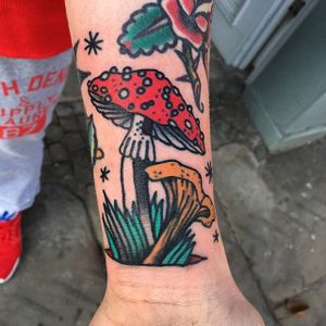 Mushroom Tattoo by @castorraubadler #traditional #traditionalmushroom #mushroom #mushroomtattoo #mushroomtattoos #fungi #fungitattoo #fungitattoos #mushroomdesigns #castorraubadler