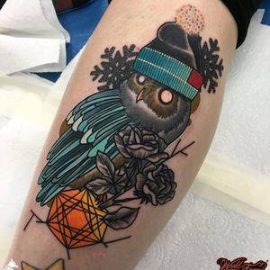 Cute owl tattoo by Piotr Gie #PiotrGie #graphic #owl #bird #snowflakes #blackrose #linework