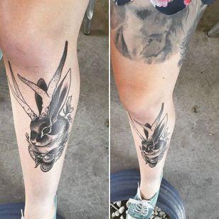 Jackalope tattoo by Pari Corbitt. #PariCorbitt #jackalope #fable #imaginary #animal #antler #rabbit #PariCorbitt