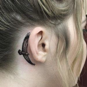 Eagle by Tim Hendricks #TimHendricks #micro #eagle #blackandgrey #tattoooftheday