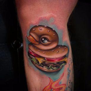 Cheeseburger rubber ducky tattoo by Steven Compton. #newschool #rubberduck #StevenCompton #rubberducky #burger #cheeseburger