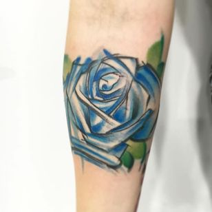 Blue rose sketch watercolor tattoo by Sandro Stagnitta. #sketch #watercolor #SandroStagnitta #flower #rose
