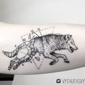 Geometric Wolf tattoo by Vytautas Vy. #VytautasVy #blackwork #wolf #geometric