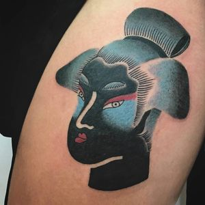 Japanese lady head tattoo by Bouits #Bouits #ladyheadtattoo #Japanese #abstract #cubist #mashup #lady #portrait #blue #blackfill #geisha #face #linework #tattoooftheday