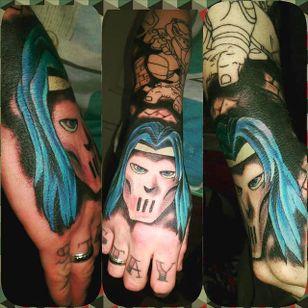 Casey Jones hand tattoo (via IG -- haydenrossshearer) #caseyjones #caseyjonestattoo #TeenageMutantNinjaTurtles #tmnttattoo