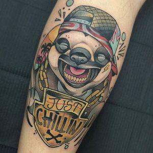 Sloth Tattoo by Guindo #sloth #slothtattoo #slothtattoos #animaltattoos #animal #funtattoos #charismatictattoos #Guindo