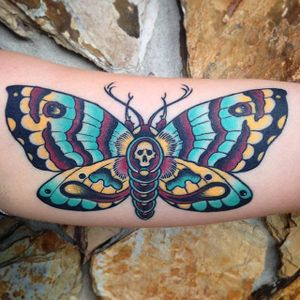Moth Tattoo by Zach Bowden #moth #traditional #neotraditional #boldtraditional #brigthandbold #traditionalartist #ZachBowden