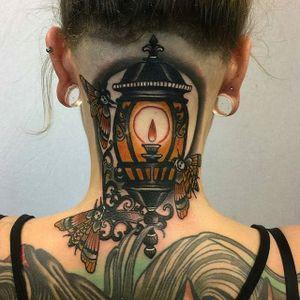Neo Traditional Lantern Tattoo by Matt Adamson #lantern #neotraditional #neotraditionallantern #light #MattAdamson