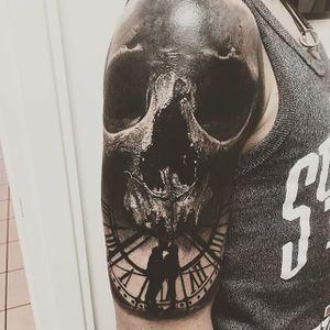 Love and death, by Sandry Riffard. (via IG—audeladureeltattoobysandry) #SandryRiffard #Skulls #Realism #Metal