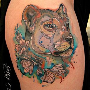 Watercolor lioness tattoo by Kel Tait #lioness #lion #KelTait #watercolor