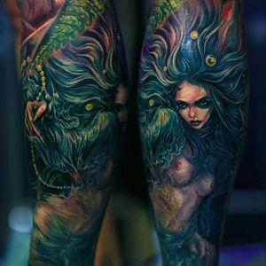 Dark looking mermaid tattoo by Nika Samarina. #nikasamarina #coloredtattoo #surrealtattoo #organic  #mermaid
