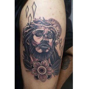 Black and Grey Jesus Tattoo by Wilson Junior #blackandgrey #Jesus #BlackandGreyJesus #Religious #Christ #WilsonJunior