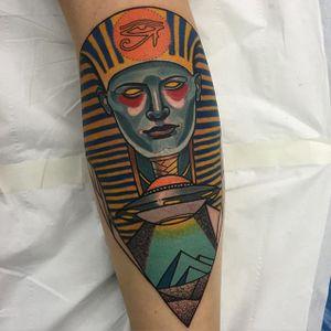 Egyptian Tattoo by Piotr Gie #NeoTraditional #NeoTraditionalArtist #NeoTraditionalTattoos #ModernTattoos #BoldTattoos #PiotrGie