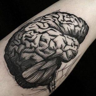 Big Brain by Mike Riina (via IG-mike_riina) #sketch #freehand #blackandgrey #illustrative #brain #MikeRiina