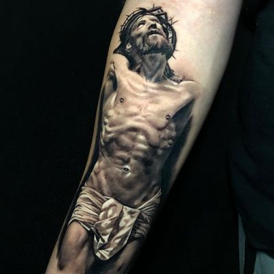 Jesus tattoo by Pony Lawson #PonyLawson #cooltattoos #blackandgrey #portrait #JesusChrist #realistic #realism #religious #Christian #Catholic #jesus #Sacrifice #thorns