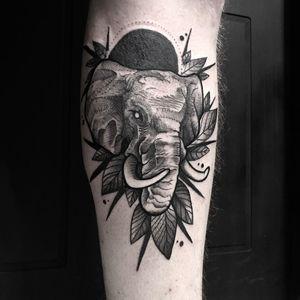 Elephant tattoo by Felipe Fego #FelipeFego #animaltattoos #blackandgrey #illustrative #elephant #animal #nature #leaves #tusks