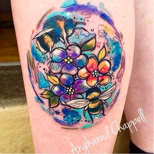 Bees tattoo by Angharad Chappell #AngharadChappell #bees #flowers #watercolour