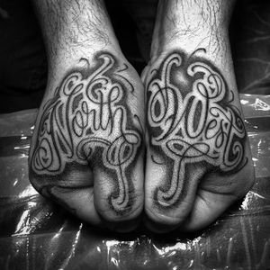 Black and Grey Lettering Tattoo by Sir Twice #lettering #script #handtattoos #SirTwice