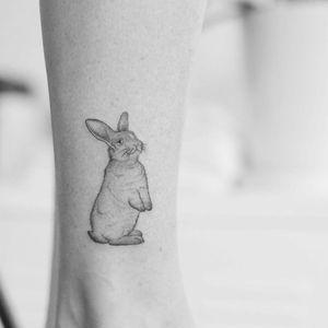 Cute bb bunny tattoo by Minnie #Minnie #petportraittattoo #fineline #minimal #realism #realistic #illustrative #bunny #rabbit #cute #blackandgrey #small #tattoooftheday