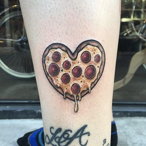 Pizza heart by Megan Massacre #MeganMassacre #color #pizza #heart #tattoooftheday