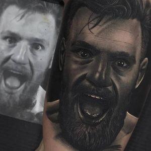 Conor McGregor tattoo by Jumilla Olivares #JumillaOlivares #blackandgrey #realistic #portrait #dark #conormcgregor