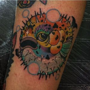 Pufferfish Tattoo by Jay Muirhead #pufferfish #fish #sealife #JayMuirhead