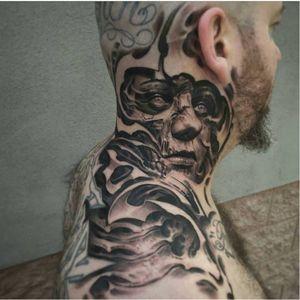 Terrific tattoo by Josh Duffy #JoshDuffy #blackandgrey #realistic #horror #bioorganic