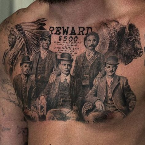 Niki Norberg's replica of a famous photo of Butch Cassidy and crew is old-school gangster. #bangers #bankrobbers #blackandgrey #ButchCassidy #NikiNorberg #photorealism #realism #truecrime