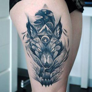 Mystic fox tattoo. #KatiBerinkey #mystic #fox #sketchtattoo #sketchstyletattoo #foxtattoo